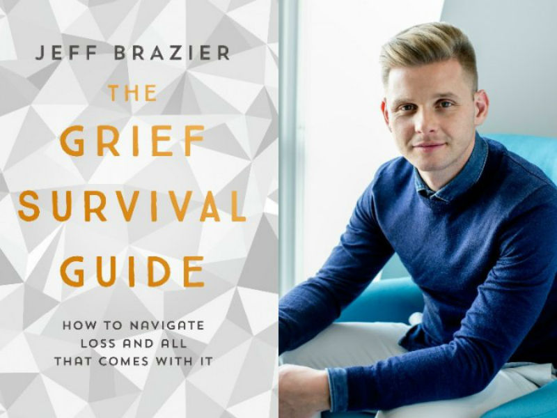 portrait of jeff brazier and cover image of his book the Grief Survival Guide