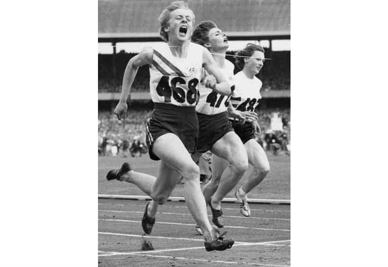 Sprinter Betty Cuthbert winning gold at the 1956 Olympic Games