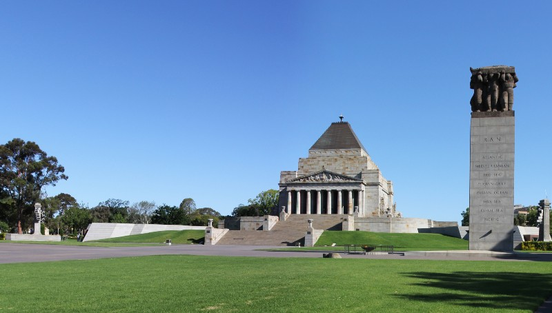 View of the Shrine of Remembrance from the front, during the day