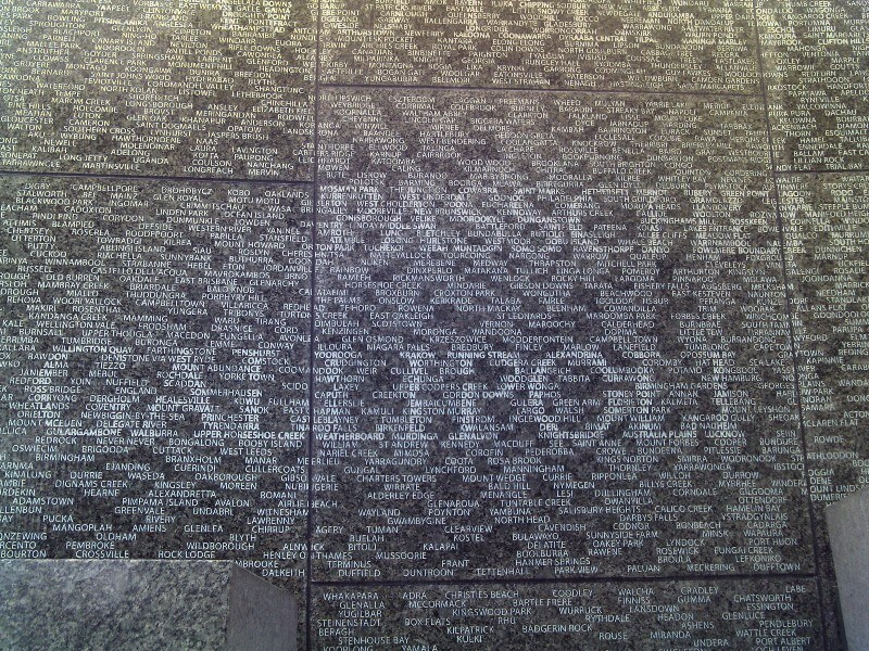 Close-up of the Australian War Memorial in Hyde Park, London, displaying the names of towns that Australian soldiers of the first and second world war came from
