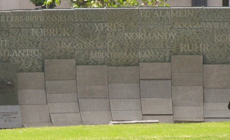 Close-up of the Australian War Memorial in Hyde Park, London, displaying the names of battles that Australian soldiers fought in