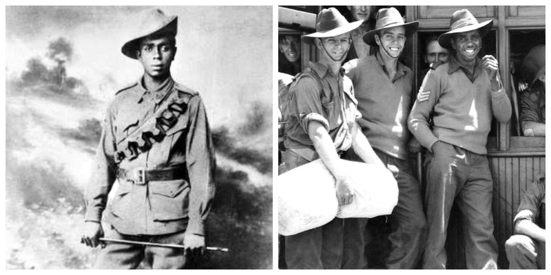 Photos of two Aboriginal Australian soldiers from WW1 and WW2