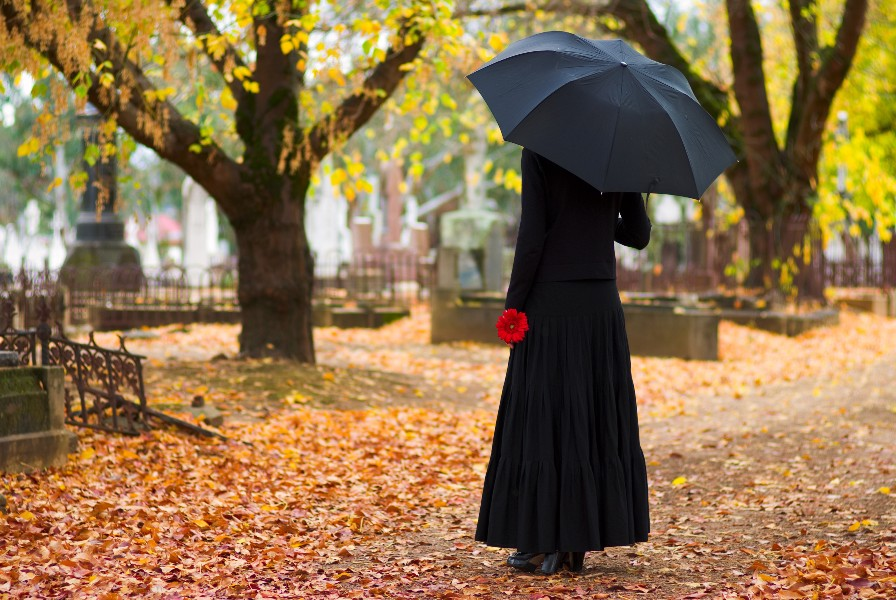 View of woman in a long black coat and umbrella in a cemetery from behind