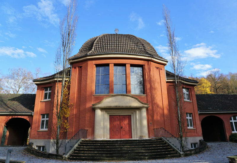 brown crematorium building