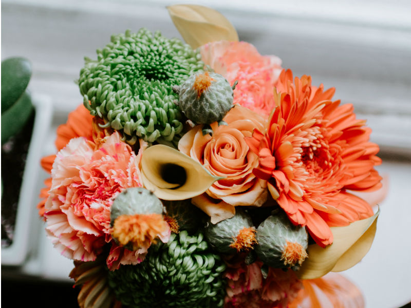 a posy of peach flowers