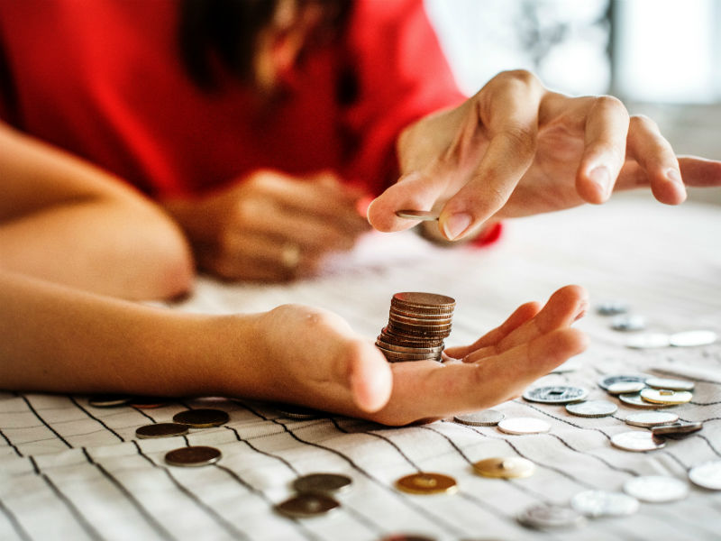 lady counting coins