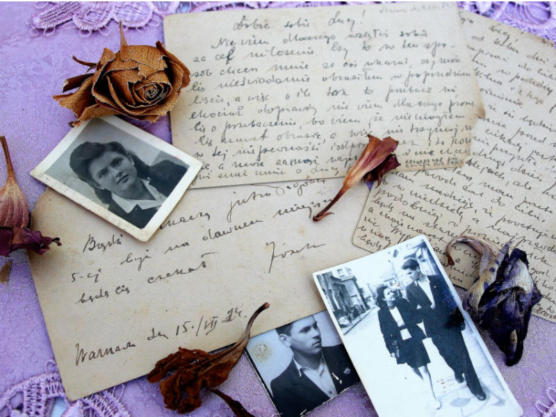 old letters flowers and photos