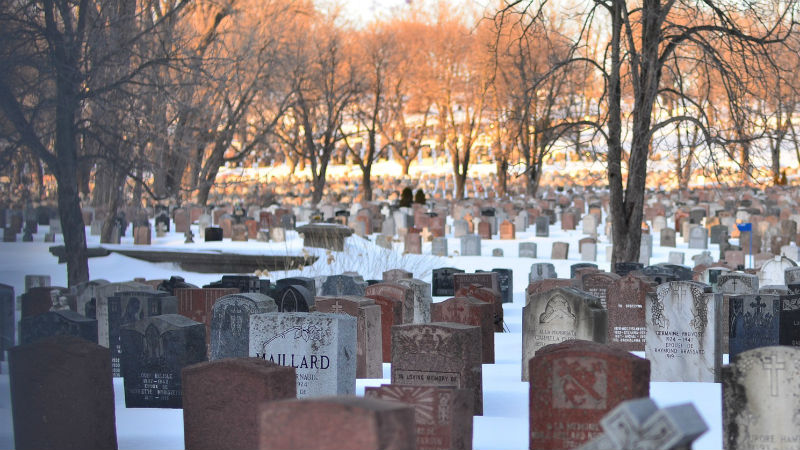 A cemetery in winter, with old and new headstones covered in snow.