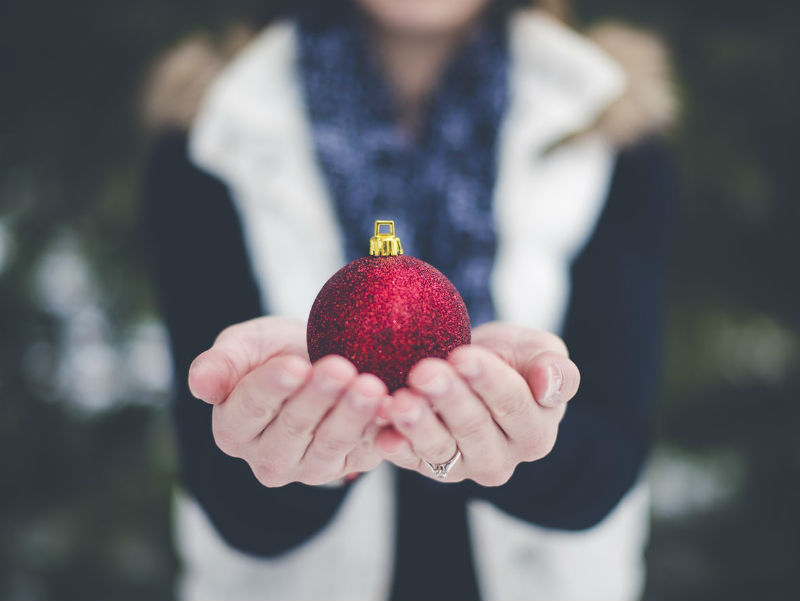 glittery red bauble