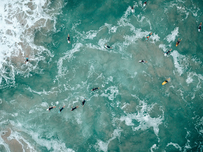 Surfers on the Gold Coast of Australia