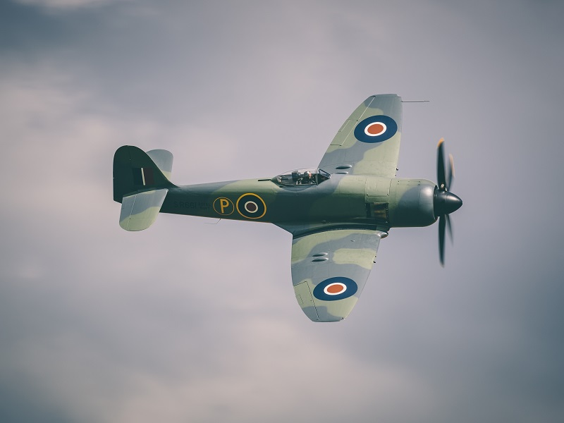 a spitfire in the air
