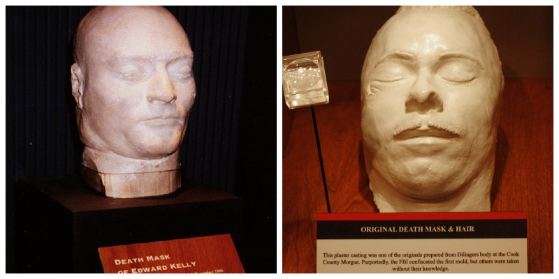 Adjacent photos of death masks of Ned Kelly and John Dillinger on display in museums