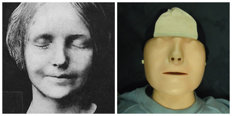 Adjacent photos of the Inconnue de la Seine death mask and the Rescusci-Ann model based on it