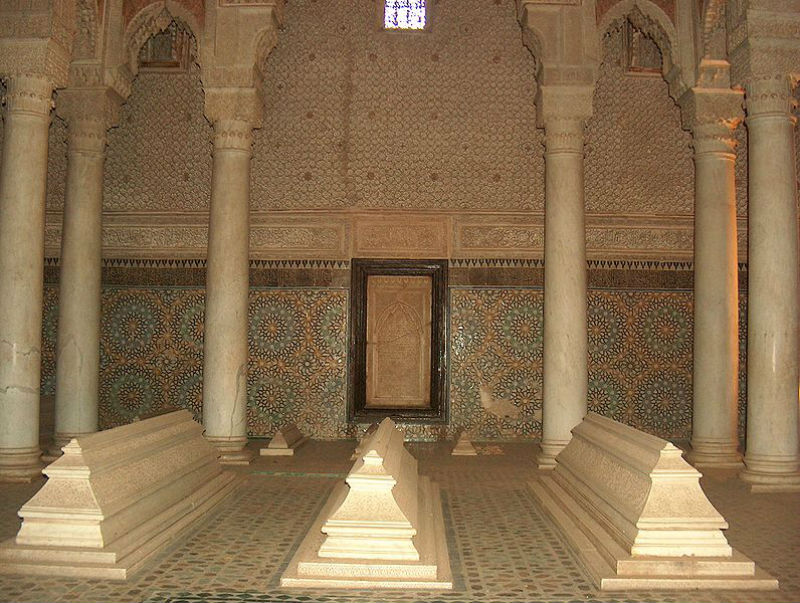 Interior view of the mausoluem in the Saadian Tombs in Marrakesh