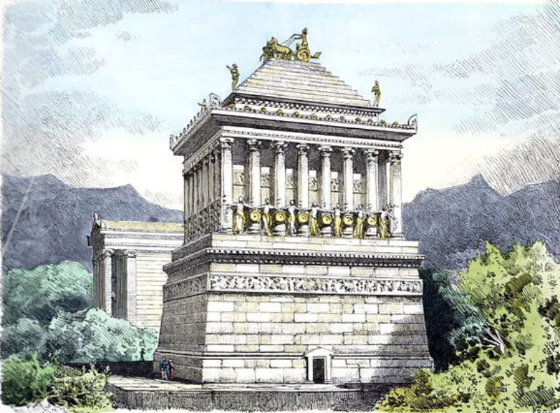 19th century illustration of the lost mausoleum at Halicarnassus