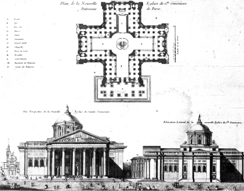 Original plan for the Pantheon of Paris by Jacques-Germain Soufflot