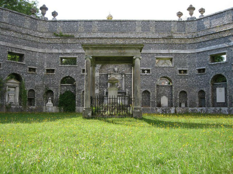 Interior view of the Dashwood mausoleum with memorial for Lady Dashwood in the centre