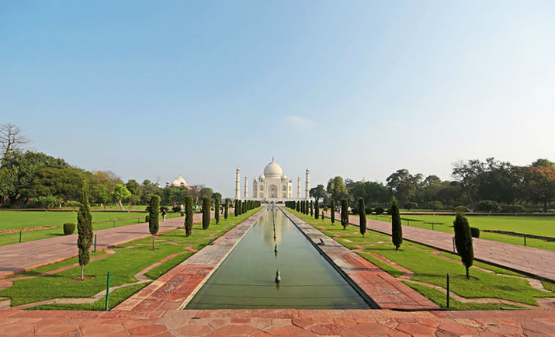View of the Taj Mahal and gardens from the far end of the reflecting pool
