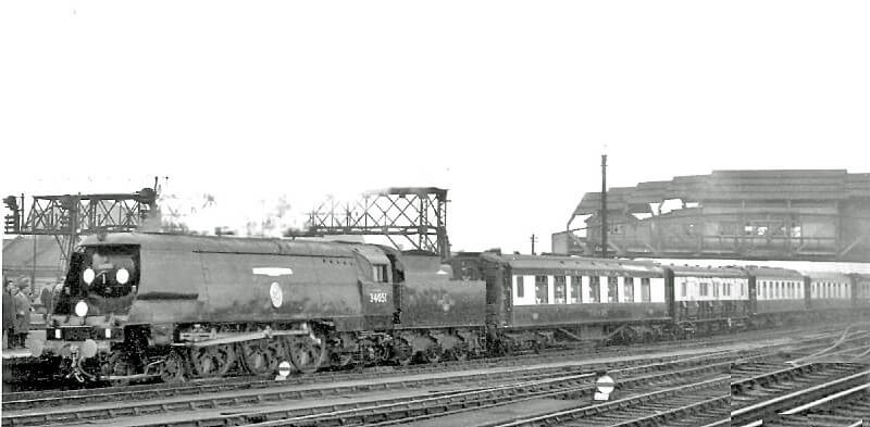 Black and white photograph of Winston Churchill's funeral train, with the number 34651 visible
