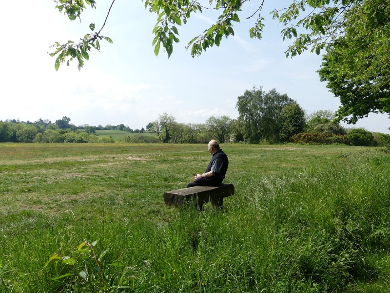 Old man in dark clothes sitting on a wooden bench in a meadow with trees