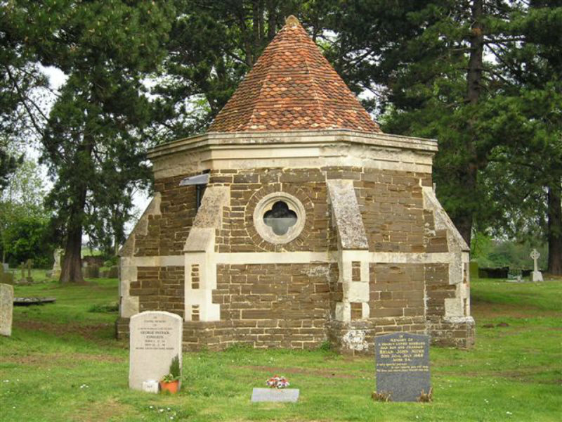 The octagonal mausoleum in Maulden's old churchyard