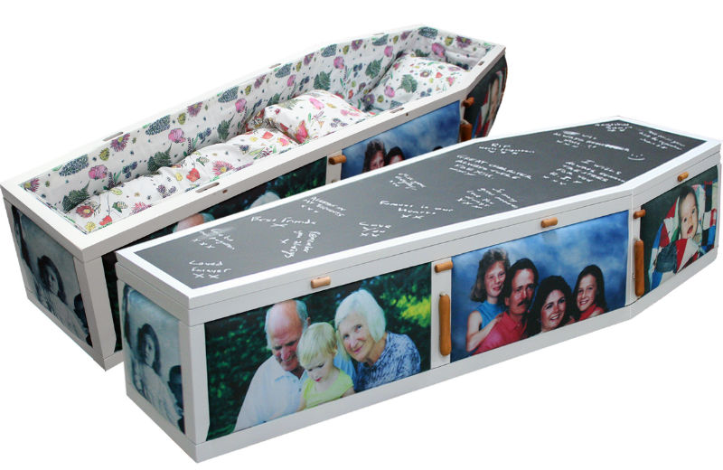 A coffin lined with a pretty quilt and a picture coffin with photographs from someone's life