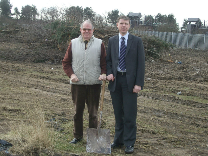 Julian Atkinson with his dad Alan, breaking the earth for the foundations of a new coffin factory