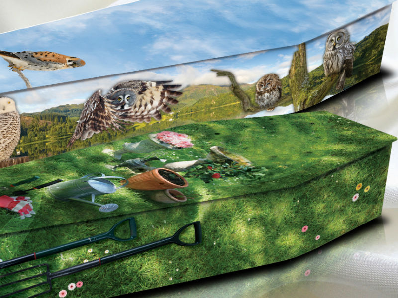 Colourful picture coffins with flower and wildlife designs