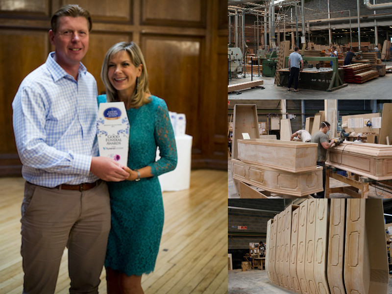 A montage showing stage of coffin manufacturing and of Julian receiving the Good Funeral Awards'Bridging the Gap Award for his endeavour within the funeral business,from TV presenter Penny Smith in 2016