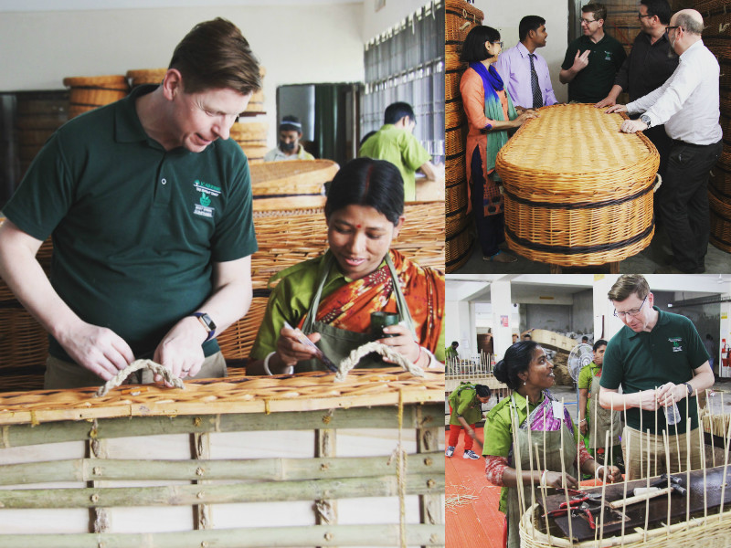 Photos of Julian Atkinson visiting the Noakhali factory
