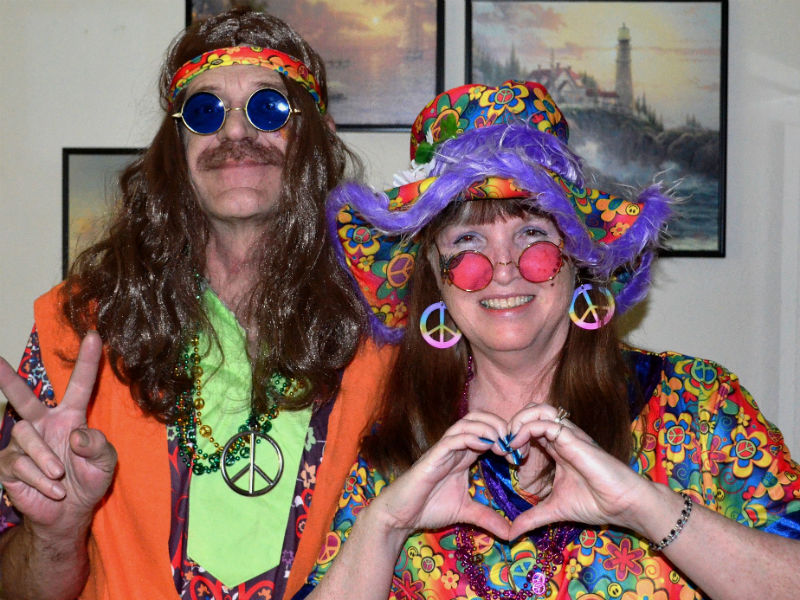Two Baby Boomers in flower power fancy dress: Julian Atkinson says people who grew up in the 60s have influenced demand for personalised funerals