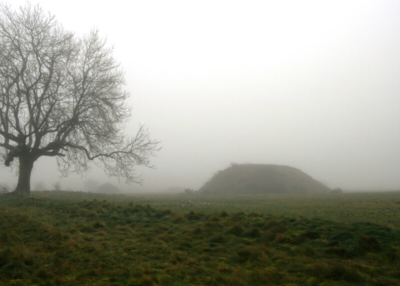Burial mounds at Sutton Hoo in the mist