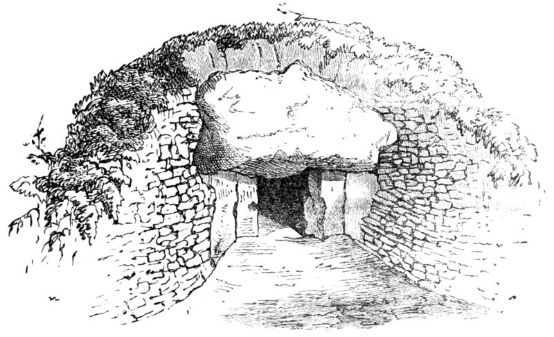 Illustration of the entrance to  a barrow by William Boyd Dawkins