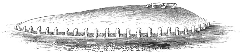 Illustration of the exterior of a long barrow by William Boyd Dawkins