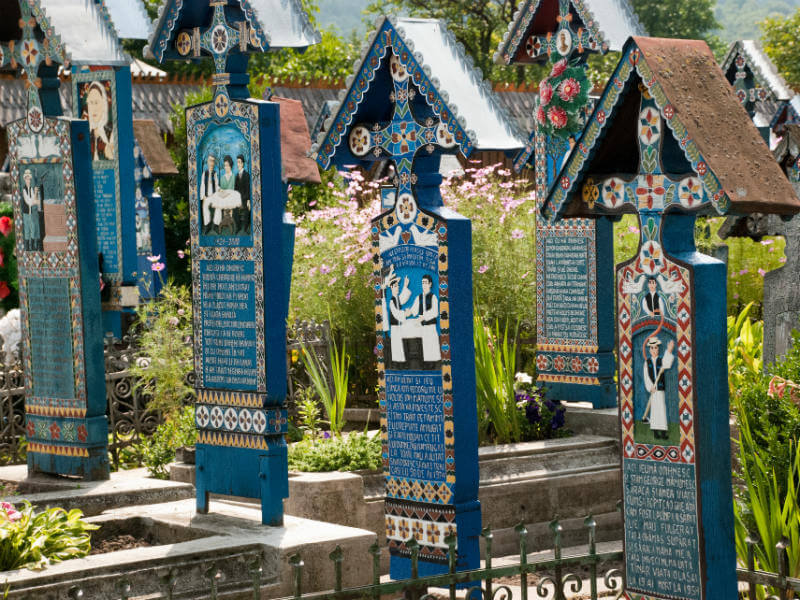Colourful wooden crosses in the Merry Cemetery