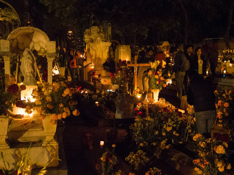 Dia de Muertos celebrations in Oaxaca Cemetery