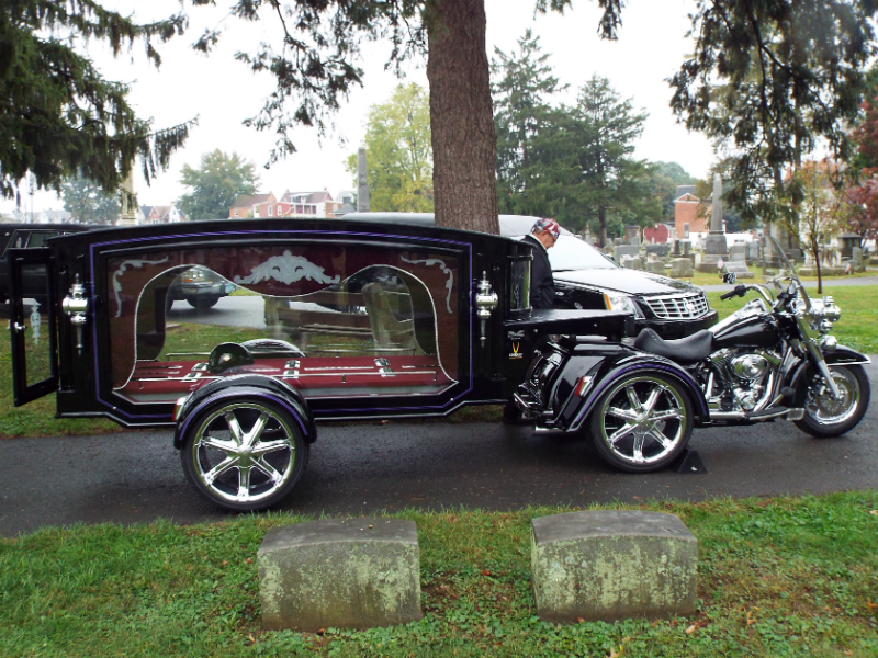 A motorbike hearse. Photo by Sarah Gath