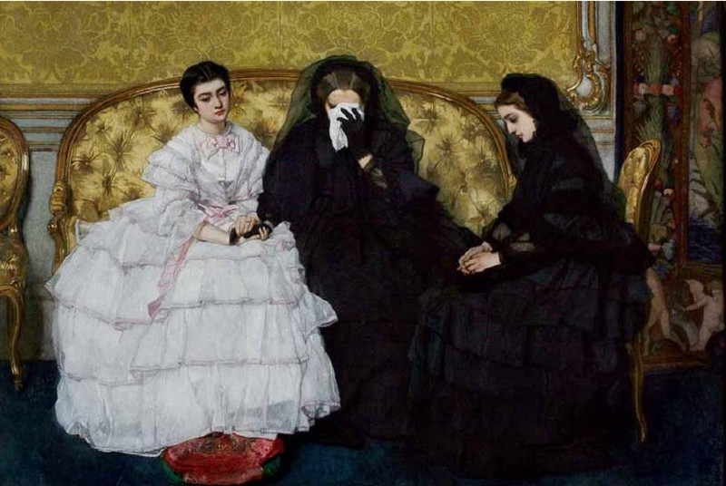 Copy of Alfred Stephens painting, In Memoria, depicting two women in mourning sitting with another lady in a white and pink dress