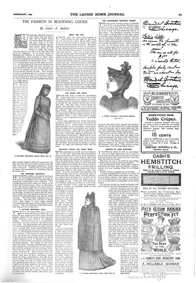 Copy of page from Ladies Home Journal (1892), with advice and illustrations o mourning dress for women
