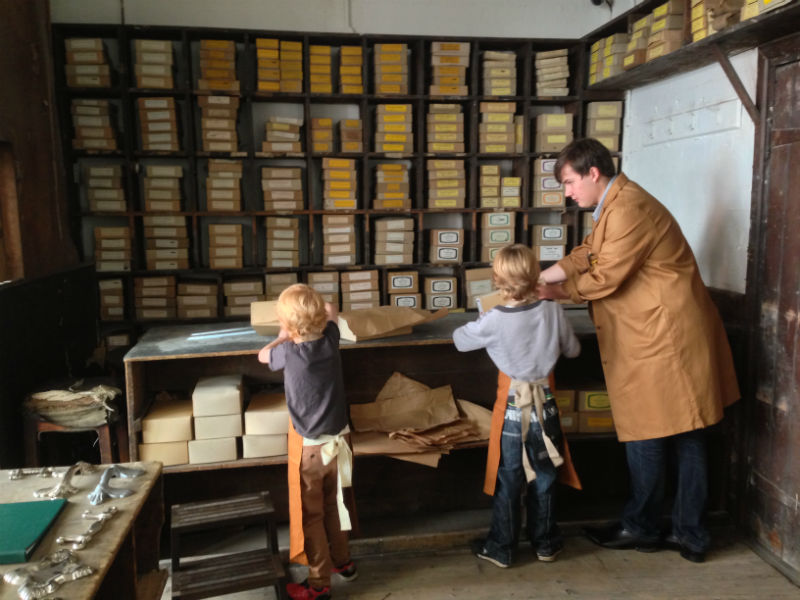 Newman Brothers Coffin Works Museum in Birmingham young visitors on factory tour