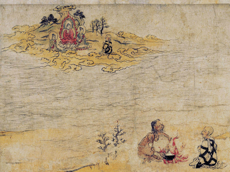 Scroll of Hungry Ghosts with illustrations of Buddha and Maha