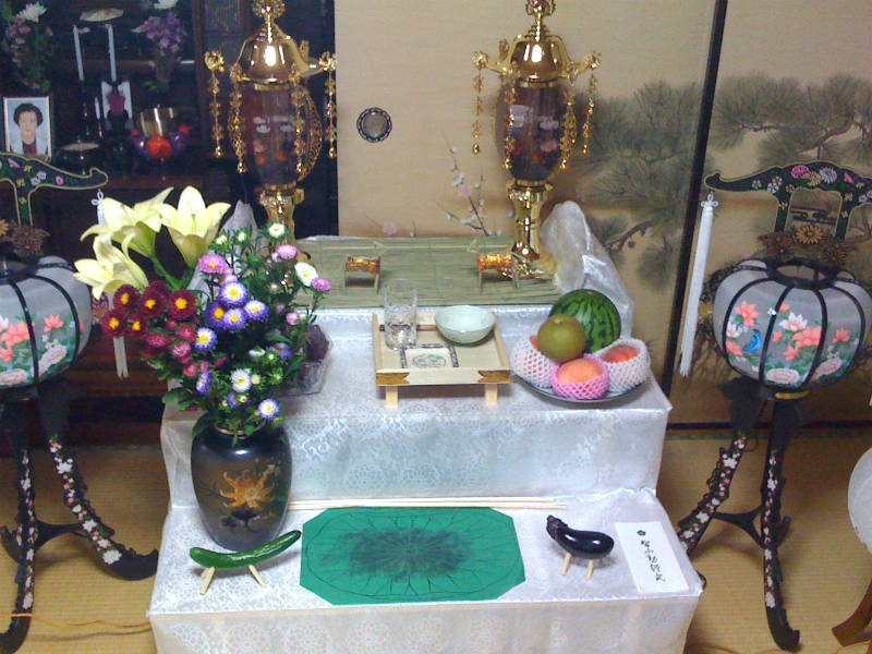 Traditional Obon altar in a Japanese family home