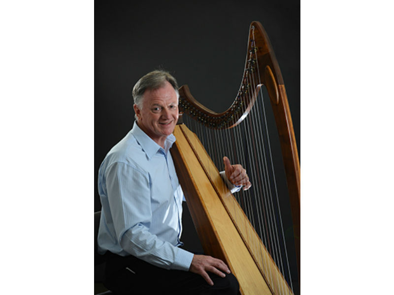 peter Roberts with his harp