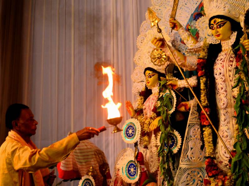 Welcoming the goddess Durga at the end of Pitru Paksha