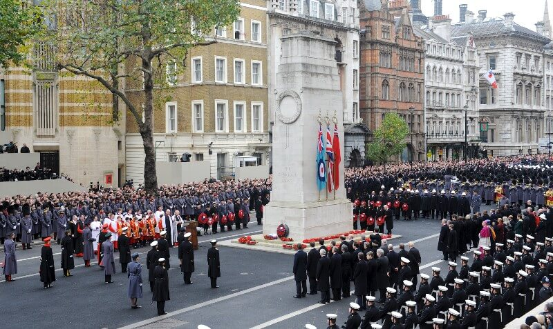 Photo of wreaths being laid at the Remembrance Day Service at the Cenotaph in London