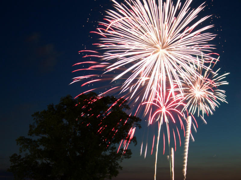 Scattering ashes with fireworks