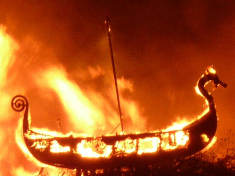 Viking ship on fire