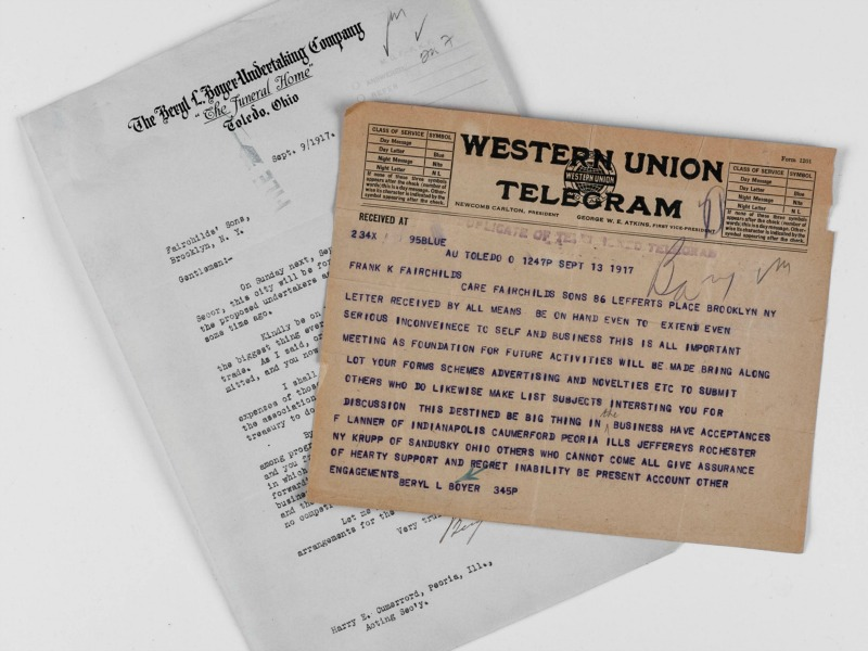Telegrams from 1917 planning Selected's first Annual Convention