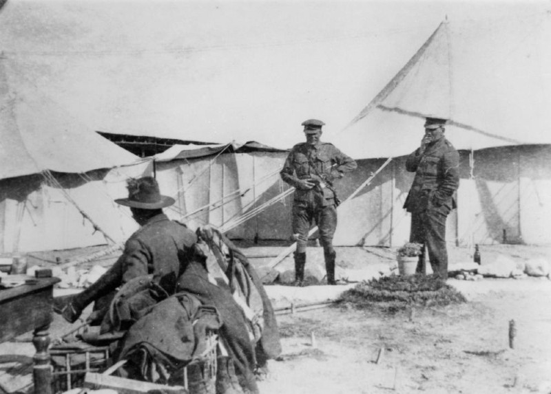 Photo of Australian soldiers at a camp in North Africa during the First World War