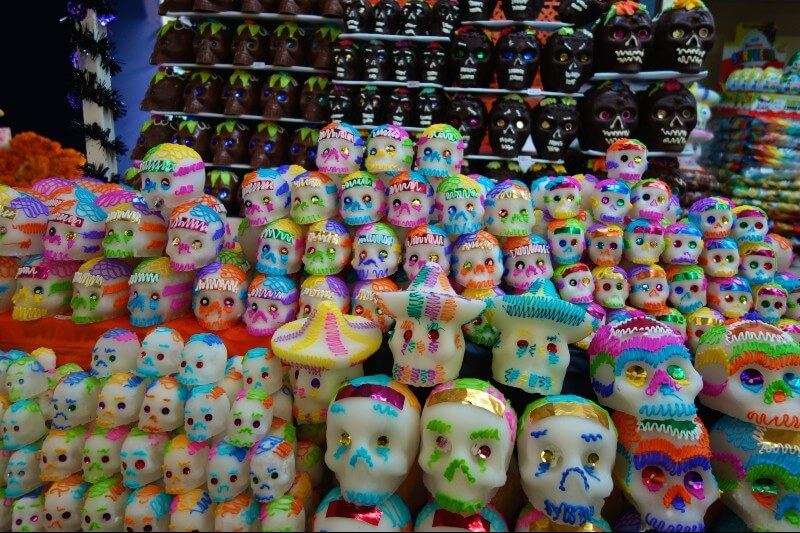 Display of sugar skulls and chocolate skulls decorated with bright colours